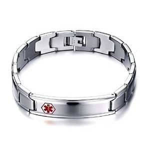 Mens Medical Bracelet Stainless Steel Link Chain (Free Engraving) 12mm Width 8.7 inches