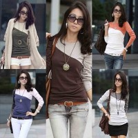Womens T Shirt Splice Casual Round Neck Mixed Long Sleeve T-Shirt 5 Colors Ladies Blouse Tees Tops