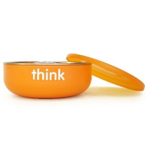 Thinkbaby Low Rise BPA Free Baby Bowl, Silver/Orange by thinkbaby [並行輸入品]