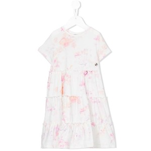 Roberto Cavalli Kids - watercolour print smock dress - kids - コットン/スパンデックス - 6歳
