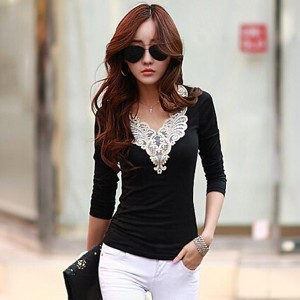 Autumn Women s Clothing Long Sleeve V-neck Lace Collar Cotton Tops Vintage Bodycon Elegant Basic T S