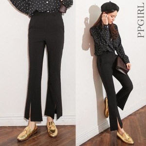 送料 0円★PPGIRL_9313 Best slacks/boots cut pants/suit pants/high waist slacks/シンプル パンツ/基本 パンツ/ユニーク