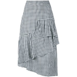 Tibi - asymmetrical gingham skirt - women - アセテート/ビスコース - 8