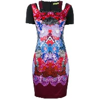 Versace Jeans - printed fitted dress - women - コットン/ポリエステル/スパンデックス/Polyimide - 42