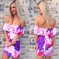 New Fashion Women Dress Floral Print Off Shoulder Strapless Bodycon Mini Sexy One-piece Purple