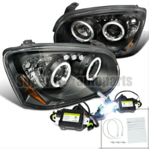 スバル インプレッサ ヘッドライト 2004-2005 Subaru Impreza WRX Halo LED Projector Headlights Black+6000K HID Kit...