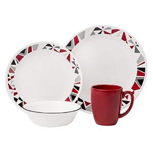 Corelle Livingware 16ピースディナーセット、モザイクレッド, Service for 4 by Corelle