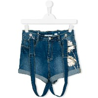 Une Fille - Teen denim suspender shorts - kids - コットン/スパンデックス - 14 yrs