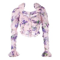 Alessandra Rich - floral print cropped blouse - women - シルク/ポリアミド/スパンデックス - 38