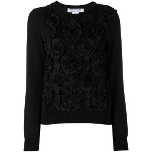 Comme Des Garçons Comme Des Garçons - floral embroidered knitted top - women - コットン/ポリエステル/ウール - L