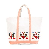 Vanessa Bruno - leather-trimmed embroidered tote - women - リネン/レザー - ワンサイズ