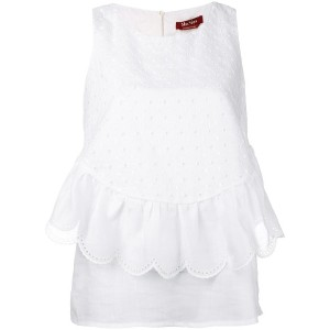 Max Mara Studio - scalloped ruffle sleeveless blouse - women - コットン - 42