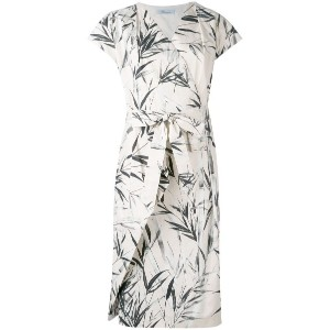 Blumarine - leaf print wrap dress - women - コットン/スパンデックス - 46
