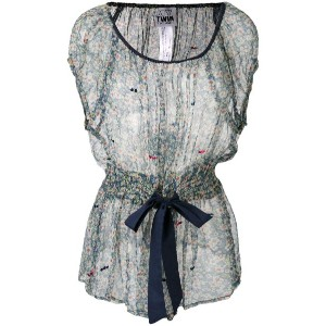 Twin-Set - floral print sheer blouse - women - コットン/ビスコース - S