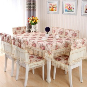 Sale Tablecloth Chairs Set Lace Flowers Pastoral Style Table Cloth Chairs Covers Sets 100% Cotton...