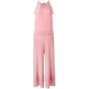 Red Valentino - scallop trim jumpsuit - women - シルク - 40