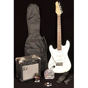 SX RST 3/4 LH White レフトハンドモデル レフティ 左利き 3/4 Size Short Scale Guitar Package with Amp, Carry Bag and...