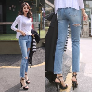 送料 0円★PPGIRL_9659 Wendy straight fit jeans / slim straight fit / denim pants / cutting jeans /