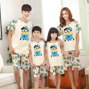 100% pure cotton cartoon family pajamas matching mother daughter pajamas father son family clothes...