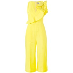 MSGM - ruffled wide leg jumpsuit - women - コットン - 40