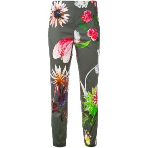 Blumarine - floral print cropped trousers - women - コットン/スパンデックス - 38