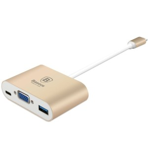 Baseus 3 in 1 USB-C 変換アダプタ ハブ Type C to VGA USB3.0 交換 USB Type C 12インチMacbook Chromebook Pixel...