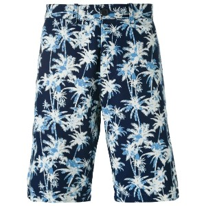 Edwin - palm tree print shorts - men - コットン - 30