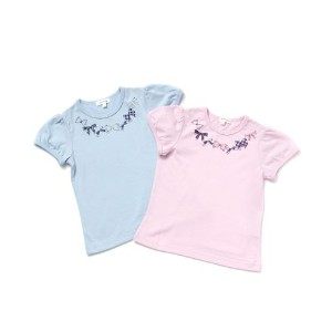 【3can4on(Kids) (サンカンシオン)】【数量限定セット】パフスリーブラメリボンプリントTシャツキッズ トップス カットソー・Tシャツ その他