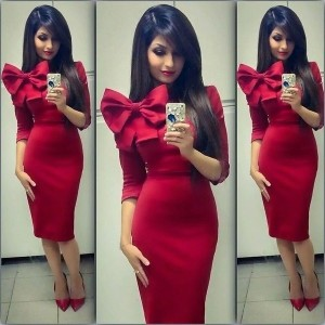 Knitted slim elegant office ladies work cute business dresses 2015 autumn Big bow red blue bodycon k