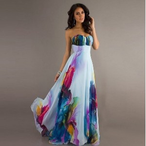 Sexy Strapless Backlee Long Dress Flower Print Maxi Bohemian Beach Evening Party Dresses