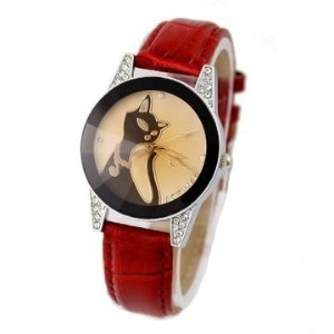 Cat Pattern Dial Retro Quartz Women s Watch with Crystal Decorated