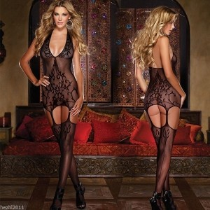NEW Sexy Women Dress Fishnet Crotchless Body Stocking Bodysuit Nightwear Lingerie