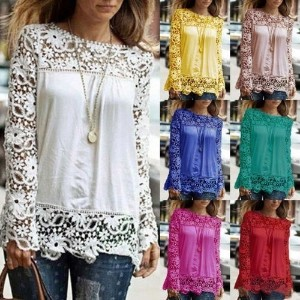 2015 Fashion Sexy Women Lace Sleeve Chiffion Shirts Long Sleeve Blouse Top
