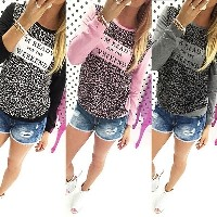 New Autumn Womens Leopard Loose Long Sleeve Blouse Tee Shirt Casual Tops