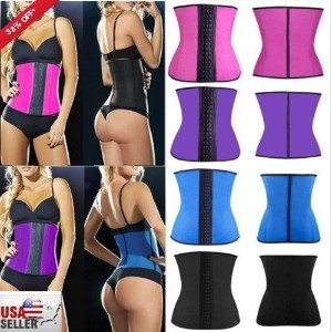 Women Latex Rubber Waist Trainer Cincher Underbust Corset Body Shaper Shapewear