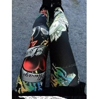 Love letters roses leggings fashion and personality, seamless high stretch tight pants, black irregu