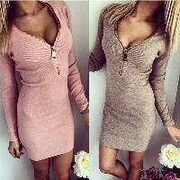 Women s Hot Fashion Long Sleeve Sexy Deep V Zipper Neck Solid Slim Casual Dress