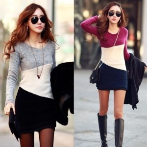 S-XL Womens Winter Knitwear Long Jumper Sweater Top Pullover Hoodie Dress grey purple