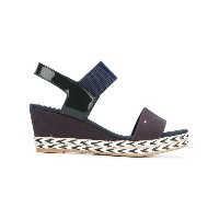 Tommy Hilfiger - wedge sandals - women - コットン/エナメルレザー/Tactel/rubber - 38