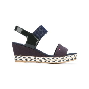 Tommy Hilfiger - wedge sandals - women - コットン/エナメルレザー/Tactel/rubber - 39