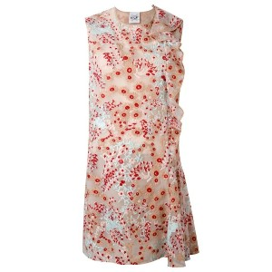 Si-Jay - floral asymmetric frill dress - women - ポリアミド/ポリエステル - 42