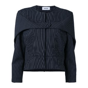 Courrèges - press stud pinstripe jacket - women - ナイロン/スパンデックス/ウール - 36