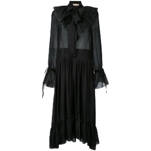 Flow The Label - ruffled details semi-sheer dress - women - シルク/コットン - XS