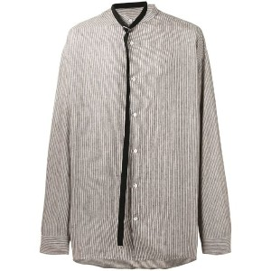 Raf Simons - belt tie striped shirt - men - リネン - 46
