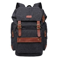 GINGOOD Mens Canvas Backpacks Rucksack with Large Capacity for Outdoor/Hiking/College #803 Black