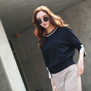 [zoozoom] Sleeves slit coloring knit 2color / 26161