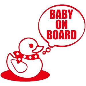 TREZ BABY ON BOARD アヒル隊長 あひる おもちゃ TOY ステッカー 【BABY IN CAR】 (レッド)