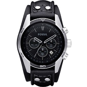 Fossil Men's CH2586 Sports Chronograph Leather Cuff Black Dial Watch