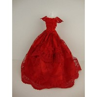 バービー 着せ替え用ドレス/服 R11 (A Stunning Red Ball Gown with Short Sleeves Made to Fit the Barbie Doll)