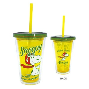 STRAW TUMBLER RETRO ストロー付タンブラー スヌーピー SNOOPY RETRO FLYING ACE イエロー PZ-1212 760425